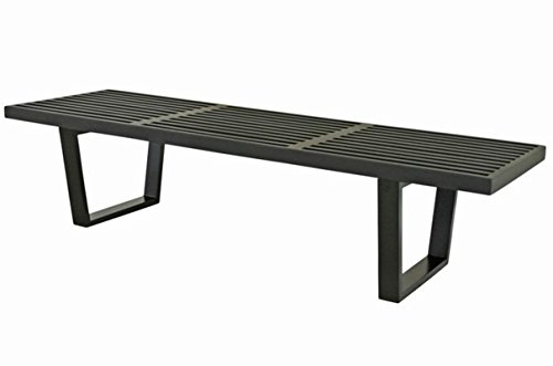 Mod Made 5 ft. Contemporary Mid Century Modern Platform Natural Wooden Slat Bench, Black (Outdoor Wooden Bench Seat)
