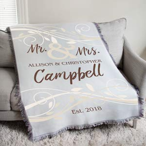 Gifts Engraved Personalized Mr & Mrs Wedding Tapestry Throw ()