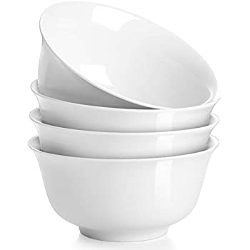 DOWAN 30 Ounces Porcelain Soup Bowl Set, Set of 4, White, Deep