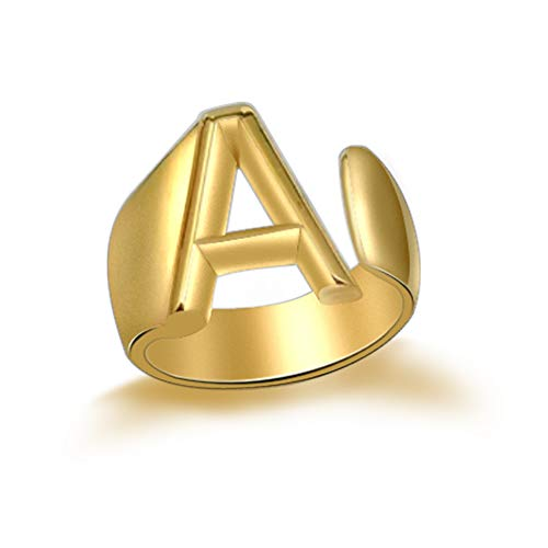 JA.S.JR 18K Gold Plated Initial Rings Adjustable Letter Open Ring Statement Rings for Women Men