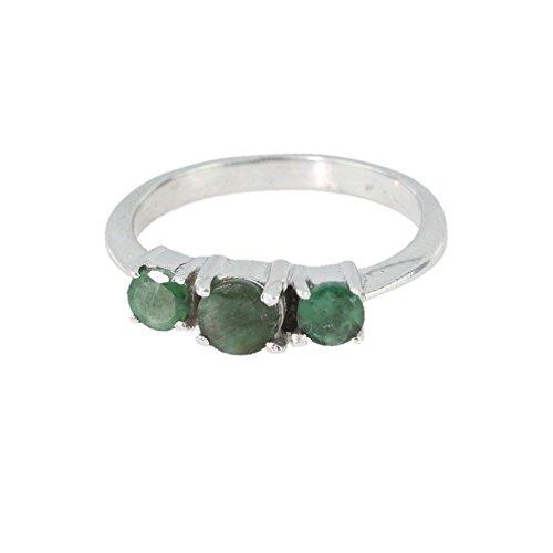 Bague en Emeraude J 04 - Bijoux en argent rhodié et Emeraude - Toutes tailles et diverses pierres - ARTIPOL