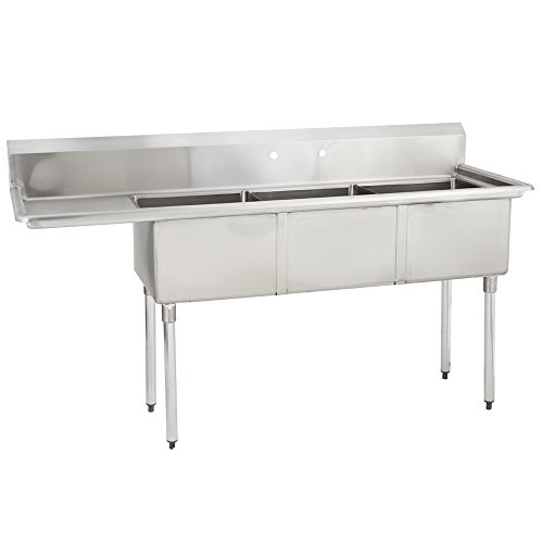 Fenix Sol 18G-3C18X18-L18 Three Compartment Stainless Steel Sink, Bowl: 18''L x 18''W x 12''D, Overall Size: 74.5''L x 23.8''L x 43''H, 1 x 18'' Left Drainboard, Galv Legs by Fenix Sol