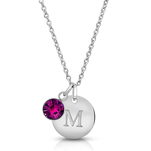 Hapram Initial Necklace Letter M Personalized Custom Dainty Disc Sterling Silver with Zodiac Birthstone, 23.6