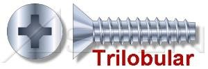 (7500 pcs) #8 X 2', Trilobular Thread-Rolling Screws, Flat Phillips Drive, Standard 82 Degree Countersink, 48-2 Threading, Full Thread, Steel, Zinc Plated and Waxed Ships FREE in USA by Aspen Fasteners