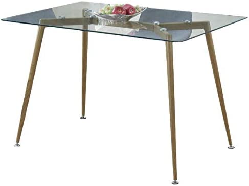 Benzara Modernly Exciting Metal Glass Dining Table Brown
