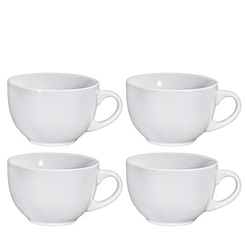 Cereal Mugs Wide Ceramic Mug Set of 4, 24 Ounce, By Bruntmor (White) ()