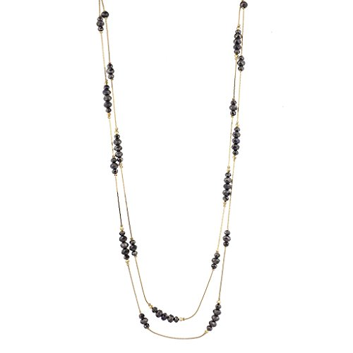 Lux Accessories Goldtone Beaded Station Break Double Row Long Necklace
