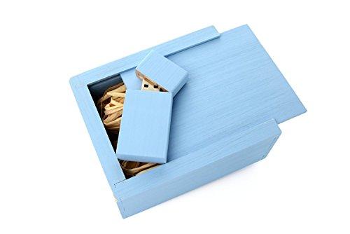 Serenity Blue 16GB Maple USB Flash Drive - Inserted into a Matching Maple Stained Box with Raffia grass inside.
