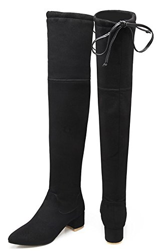 Aisun Womens Trendy Dressy Lace Up Pointed Toe Mid Chunky Heels Slim Stretchy Over The Knee High Boots Black 5jSRaaBj