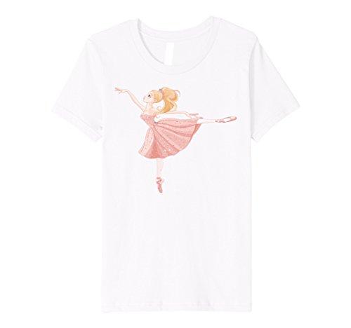 Kids Ballerina Girl Dance Ballet Shoes Slippers Dancer T Shirt 8 White (Slippers Kids White Ballerina)