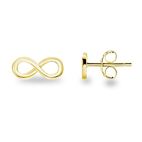 14k Yellow Gold Plated 925 Sterling Silver Mini Infinity Plain Dainty Post Stud Earrings