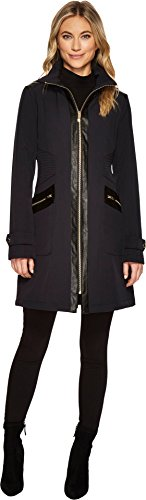 Via Spiga Women's Center Zip Softshell with Faux Leather ...