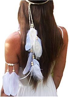- Set of 2 White Bohemian Feather Tassels Headband with Armband Gypsy Hippie Peacock Headwear Headdress Woman Favorite Hair Accessories