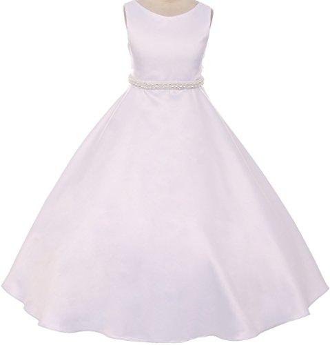 Pearls Flower Girl Communion Dress (Big Girls' Satin Pearl Trim Wedding Holy First Communion Flower Girl Dress White 10)