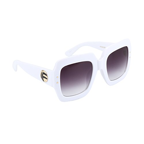 ROYAL GIRL Oversized Square Sunglasses Women Inspired Tinted Frame Fashion Modern Shades (White Frame, (White Square Sunglasses)