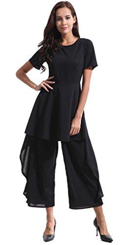Thenice Women's Loose Irregular Elegant Wide Leg Rompers Trousers (XL)