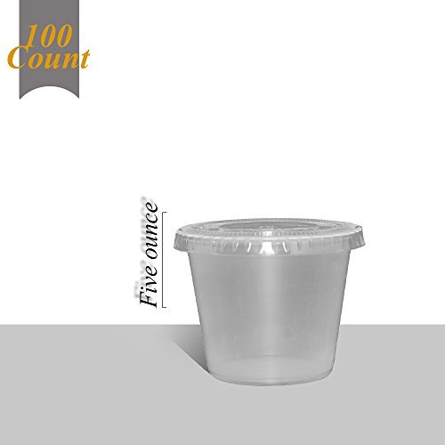 Primebaker Disposable Translucent Plastic Cups with Lids, 100 Count - 5 Ounce]()