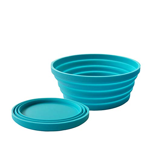 Silicone Expandable Collapsible Bowl for Travel Camping Hiking, Blue (1 Pack) ()