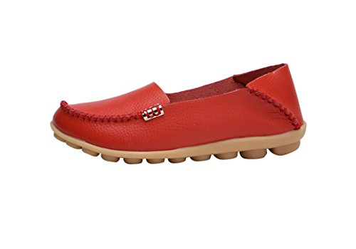 Verocara Womens Leather Flat Boat Shoes Casual Shoes Driving Loafers Red 0Je8SFGz