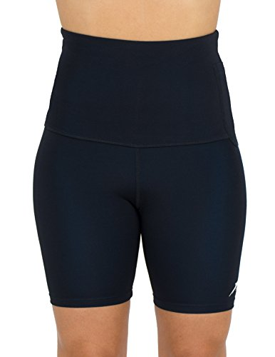 Delfin Spa Women's Mineral Infused High Waist Exercise Shorts, BLACK, Medium