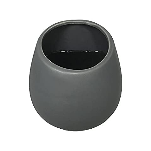 Wall Planter Round 3 1/2 in. x 4 in. Dark Grey Ceramic (Large Flat Planter)