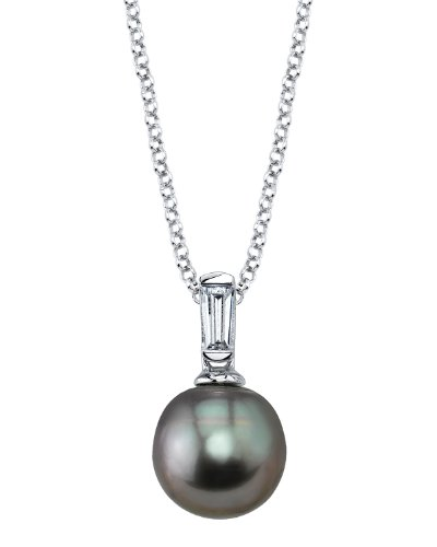 THE PEARL SOURCE 8-9mm Black Tahitian South Sea Cultured Pearl Cubic Zirconia Baguette Pendant Necklace for Women