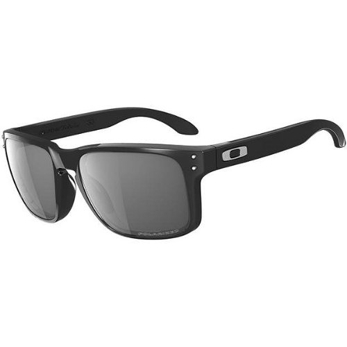 Oakley Men's Holbrook Polarized Rectangular Sunglasses,Polished Black Frame/Grey Lens,one - Oakley Grey Holbrook Lenses Polarized