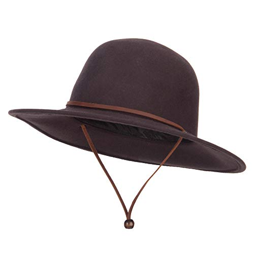 Jeanne Simmons Round Crown Wool Felt Hat - Chocolate XL