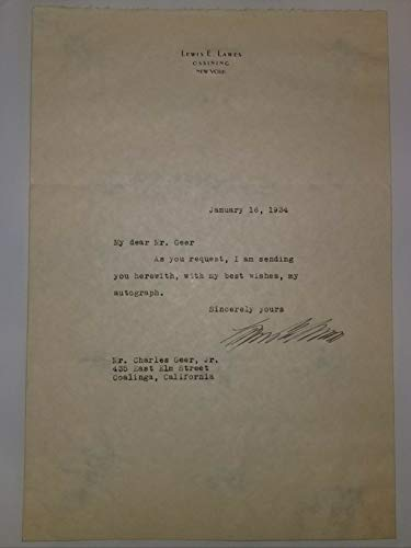 "RARE!""Sing Sing Warden"" Lewis Lawes Hand Signed TLS Dated 1934 Todd Mueller COA from Unknown"