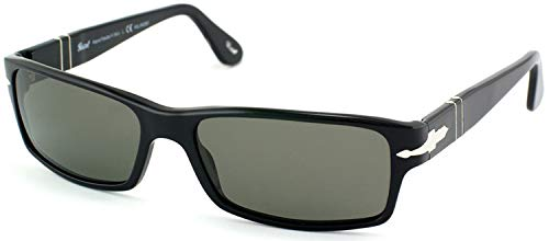 Persol PO2747S 95/48 Sunglasses, Black Acetate Frame, Green Polarized 57mm ()