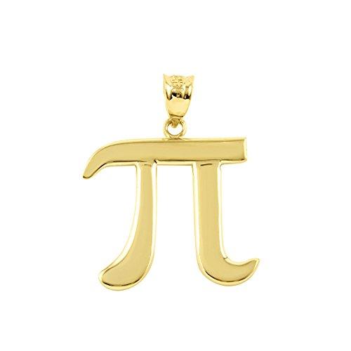 14k Yellow Gold Mathematical Pi Symbol Pendant