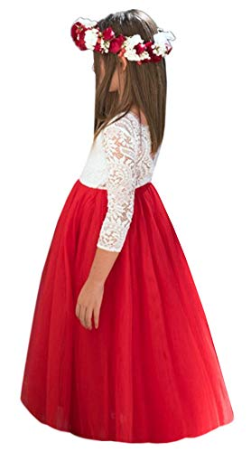 (2Bunnies Girl Peony Lace Back A-Line Straight Tutu Tulle Party Flower Girl Dresses (Red Maxi, 3T))