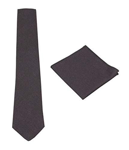 Mens Solid Skinny Linen Tie and Pocket Square Gift Set Various Colors (Charcoal Gray)