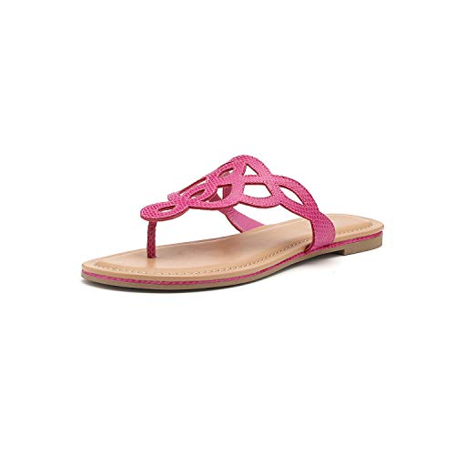 Pink Thongs Sandals Shoes - Women's T-Strap Flat Thong Slip On Sandals Dress Or Casual Flip Flops (7, Pink)