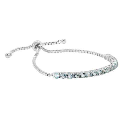 Blue Topaz Bolo Bracelet in Sterling Silver (Adjustable 4-10 inches)