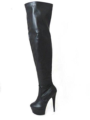 lateral fetiche cremallera con Black 36 plataforma aguja tallas tacón señora mujer 41 Matt mosqueteras de 14777 y Botas sensual para Bq8xFF
