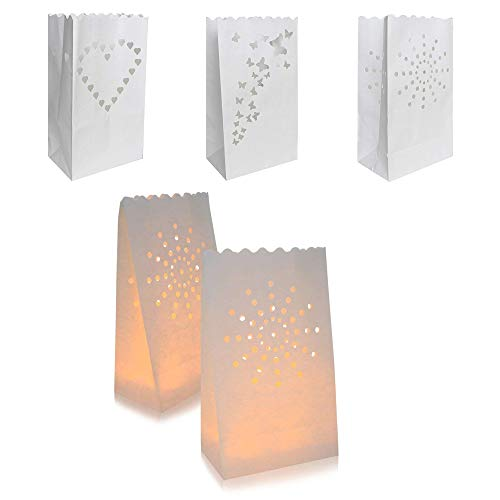 Candle Bags, INTVN Lantern Paper Bags Candle Luminary Bags Flame Resistant Paper Bags for Wedding, Christmas, Holiday, Party Decoration, White, 30 Pieces -