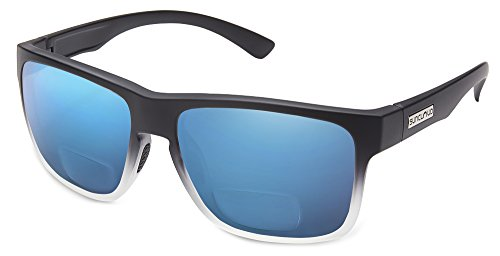 Suncloud Rambler Polarized Bi-Focal Reading Sunglasses in Black Grey Fade/Blue Mirror Lens +2.75 (Lens Blue Fade)