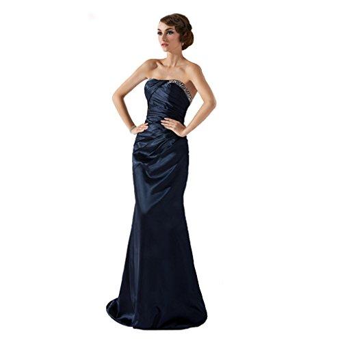 StarGirl Custom Made Womens Trumpet Mermaid Strapless Sweep Train Charmeuse Evening Dress With Ruffle Beading Dark Navy Size 16