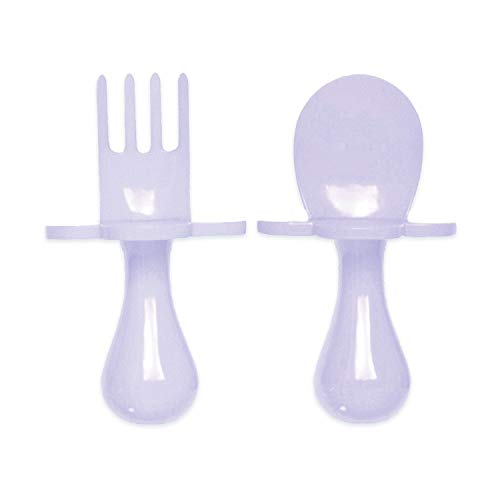 grabease First Self Feeding Utensil Set of Spoon and Fork for Toddler and Baby. BPA Free. to-go Pouch (Lavender)
