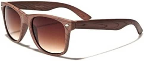 Retro Style Wood Grain Amber Lens Sunglasses