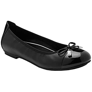 Vionic Women's Spark Minna Ballet Flat - Ladies Cap Toe Walking Flats with Concealed Orthotic Arch Support Black Black 5 Medium US
