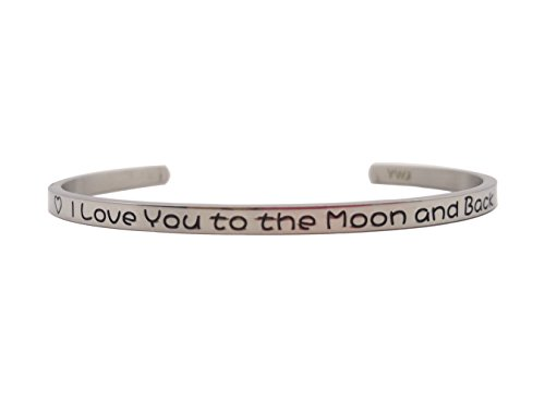 YWJ I Love You to the Moon and Back' Cuff Bangle Love Bracelet for Women Wife Girlfriend Mom Her by YWJ