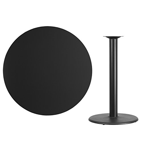 (Flash Furniture 42'' Round Black Laminate Table Top with 24'' Round Bar Height Table Base)