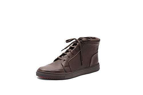 Brown Milled Leather - AZYRRHA Men's Gulmarg Milled Leather High-Top Fashion Sneaker Brown