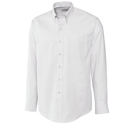 Cutter & Buck Men's Long Sleeve Epic Easy Care Nailshead Shirt, White, (Nailshead Woven Shirt)