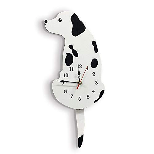 ASdf Cartoon Wall Clock Automatic Wag Tail Dog Wall Clock Creative Simple Wall Decoration Clock Creative Wall Clock Living Room Bedroom Kitchen (Color : White)