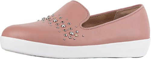 Audrey Leather - FitFlop Women's Audrey Pearl Stud Smoking Slippers Loafer Flat, Apple Blossom, 11 M US