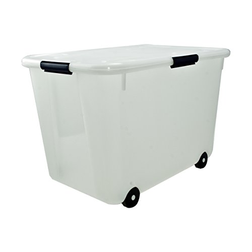 Advantus Rolling Storage Box With Snap Lid, 15 Gallon Size, Clear (34009)