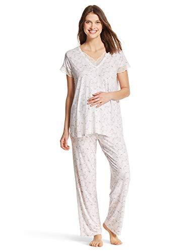 Nanette Lepore WomensMaternity Nursing Lace Trim Shirt and Lounge Pants Pajama Set Grey Large ()